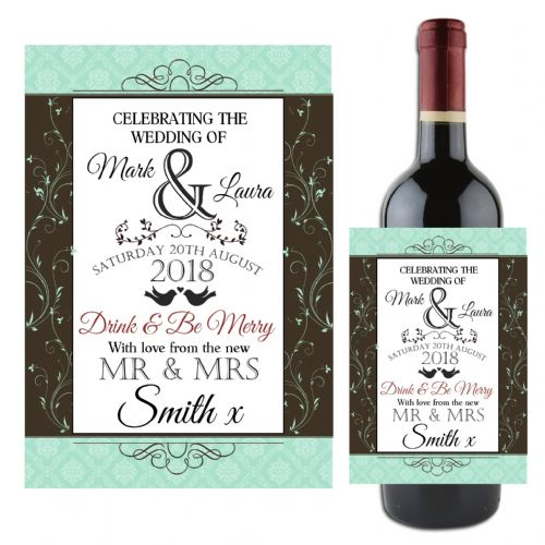 Personalised Wedding Day Table Wine / Champagne Bottle Label N116